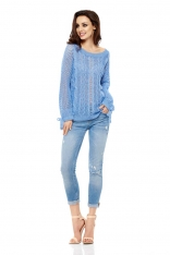 Szafirowy Sweter Ażurowy z Kokardkami przy Rękawach