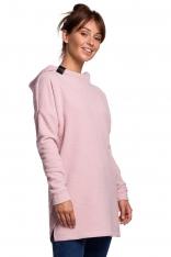 Nierozpinana Asymetryczna Bluza z Kapturem - Pudrowa