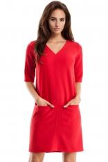 Czerwona Sukienka w Serek z Kieszeniami