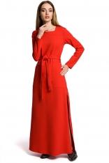 Czerwona Sukienka Dresowa Maxi z Dekoltem Caro z Rozcięciem