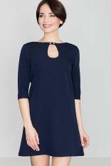 Niebieska Mini Trapezowa Sukienka z Łezką