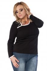 Czarno-biała Dzianinowa Bluzka z Asymetrycznym Dekoltem PLUS SIZE