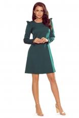 Zielona Trapezowa Sukienka z Falbankami na Ramionach