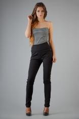 Czarne Dopasowane Elastyczne Spodnie z wysokim Stanem