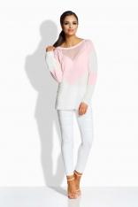 Różowo Ecru Dwukolorowy Sweter z Ażurową Wstawką