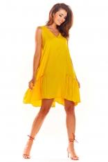 Żółta Luźna Sukienka bez Rękawów z Falbanką