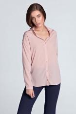 Różowa Koszula Oversize z Długim Rękawem