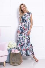 Długa Sukienka w Kwiatowy Deseń z Falbankami