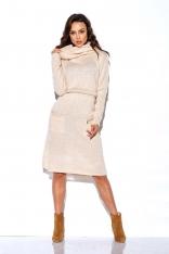 Beżowa Swetrowa Sukienka z Golfem i Kieszeniami