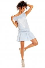 Mini Sukienka z Falbanką i Ażurowym Sercem - Błękitny