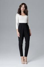 Czarne Nowoczesne Kopertowe Spodnie