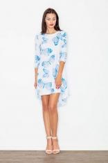 Sukienka Asymetryczna w Odcieniach Błękitu