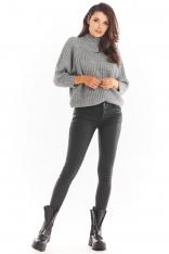 Kimonowy Sweter z Półgolfem - Szary