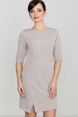 Beżowa Elegancka Sukienka z Asymetrycznym Rozporkiem