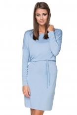 Niebieska Sukienka z Wiązanym Paskiem