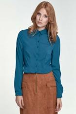 Zielona Klasyczna Bluzka Koszulowa