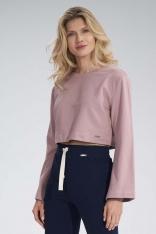 Krótka Bawełniana Bluza z Szerokim Rozciętym Rękawem - Różowa