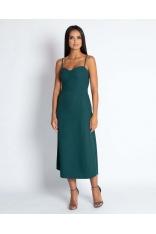 Zielona Midi Sukienka na Cienkich Ramiączkach