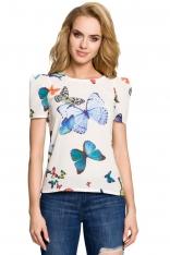 Ecru Urocza Bluzka w Kolorowe Motyle z Bufiastym Rękawem