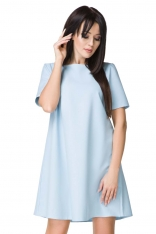Błękitna Sukienka o Kształcie litery A