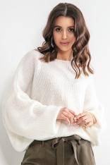 Luźny Sweter z Szerokimi Rękawami - Ecru