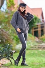 Kimonowy Sweter z Półgolfem - Grafitowy