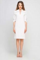 Ecru Sukienka Wizytowa z Kontrastowymi Lamówkami