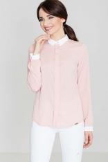 Różowa Klasyczna Elegancka Koszula z Kontrastowym Kołnierzykiem i Mankietami