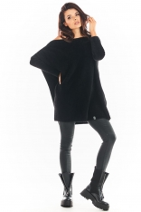Czarny Swetrowa Sukienka Oversize