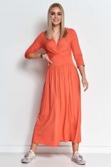 Długa Wiskozowa Sukienka o Kopertowym Dekolcie - Pomarańczowa