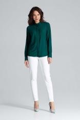 Zielona Klasyczna Koszula z Długim Rękawem