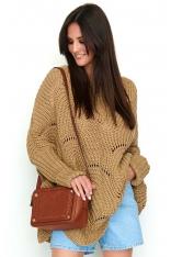Orzechowy Sweter-Ponczo z Warkoczowym Splotem