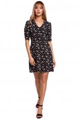 Krótka Sukienka w Kwiatki z Zakładką na Rękawie - Model 8