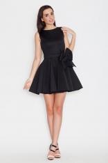 Czarna Wizytowa Rozkloszowana Sukienka bez Rękawów z Kokardą