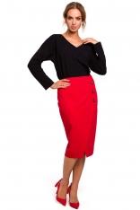 Czerwona Ołówkowa Spódnica z Asymetryczną Zakładką i Guzikami