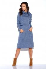 Jeansowa Swetrowa Sukienka z Golfem i Kieszeniami