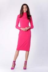 Nowoczesna Różowa Prosta Sukienka Midi z Półgolfem
