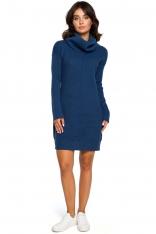 Niebieski Długi Sweter- Sukienka z Szerokim Golfem