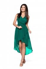 Zielona Zwiewna Asymetryczna Sukienka z Dekoltem V