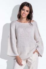 Luźny Beżowy Sweter z Szerokim Rękawem
