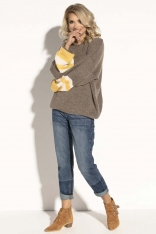 Mocca Oversizowy Sweter z Bufiastym Rękawem w Paski