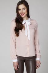 Różowa Wizytowa Koszula z Kontrastową Wiązaną Kokardą