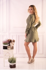 Khaki Wizytowa Mini Sukienka z Falbankami