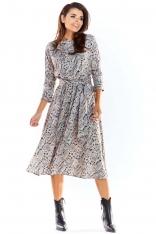Szara Rozkloszowana Midi Sukienka z Ozdobnym Motywem