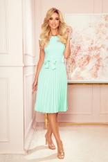 Elegancka Sukienka z Plisowanym Dołem - Miętowa