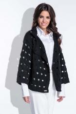 Czarny Sweter-Narzutka z Ażurowym Wzorem