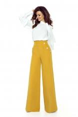 Miodowe Spodnie z Szerokimi Nogawkami z Wysokim Stanem