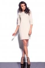 Beżowa Mini Sukienka z Kapturem