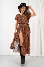 Długa Wzorzysta Sukienka Rozcięciem - Wzór 21