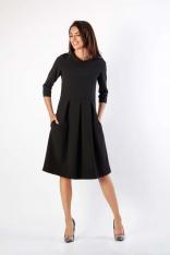 Czarna Rozkloszowana Sukienka z Wywijanym Kołnierzem